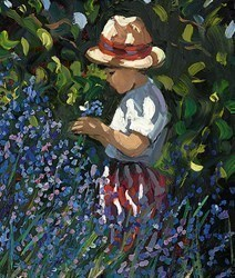 Picking Bluebells by Sherree Valentine Daines - Hand Finished Limited Edition on Canvas sized 9x11 inches. Available from Whitewall Galleries